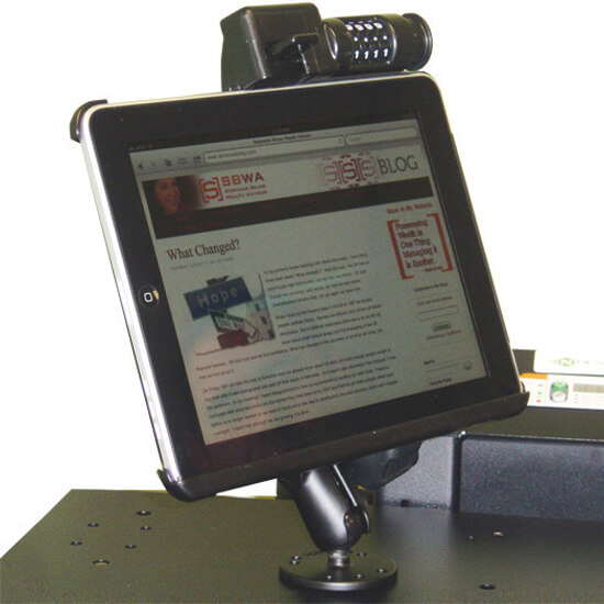 B170/B171 Adjustable & Lockable Ipad Holder for NB, PC & RC Series Mobile Powered Workstations by Newcastle Systems