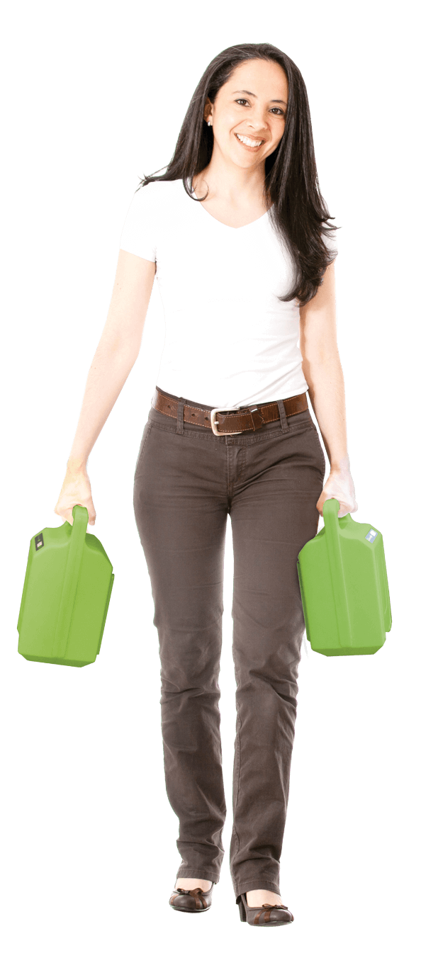 Woman Carrying the Newcastle System PowerSwap Nucleus Lithium Power System